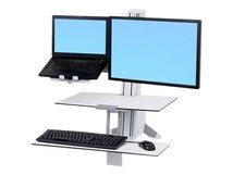 """WorkFit - Wagen-Upgrade-Kit für 2 LCD-Displays oder LCD-Display und Notebook - Stahl - weiß - Bildschirmgröße: 61 cm (24"""")"""