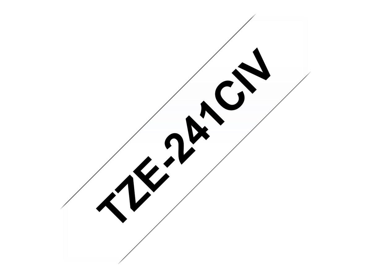 Tze 241civ schwarz auf weiss rolle 1 8 cm x 8 m 1 rolle n laminiertes band fuer brother pt d600 p touch pt 1880 d450 d800 e550 e800 p900 p950 p touch edge pt p750 38817 tze241civ