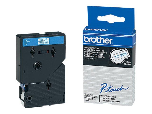Weiss blau rolle 1 2 cm x 7 7 m 1 stck druckerband fuer p touch pt 15 pt 20 pt 2000 pt 3000 pt 500 pt 5000 pt 6 pt 8 pt 8e 224802 tc203